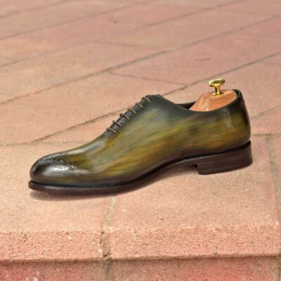 Custom Made Whole Cut Dress Shoes in Raw Crust Italian Leather with a Khaki Hand Patina
