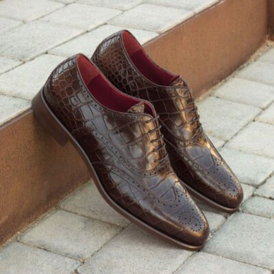 Custom Made Wingtips in Brown Croco Print Leather