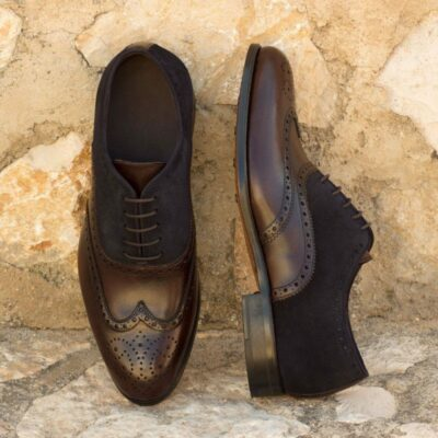 Custom Made Wingtips in Dark Brown Painted Calf and Navy Blue Luxe Suede