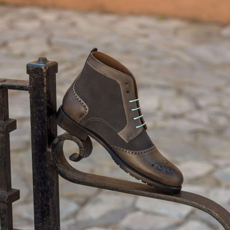 Custom Made Women's Lace Up Brogue Boots in Grey Luxe Suede and Painted Calf Leather