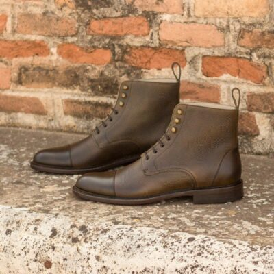 Custom Made Women's Lace Up Captoe Boot in Olive Painted Calf and Pebble Grain Leather