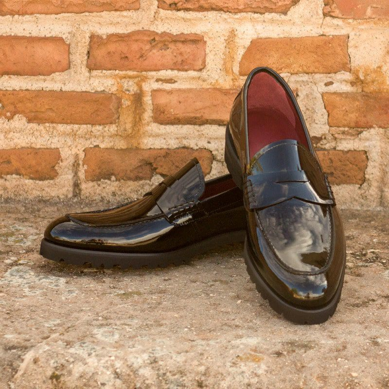 Custom Made Women's Loafers in Black Patent Leather