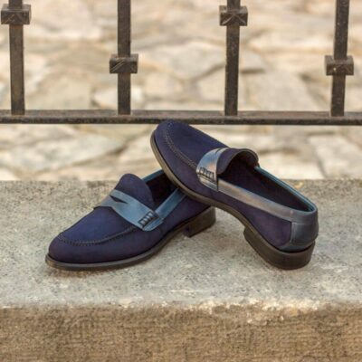 Custom Made Women's Loafers in Navy Blue Kid Suede and Painted Calf Leather