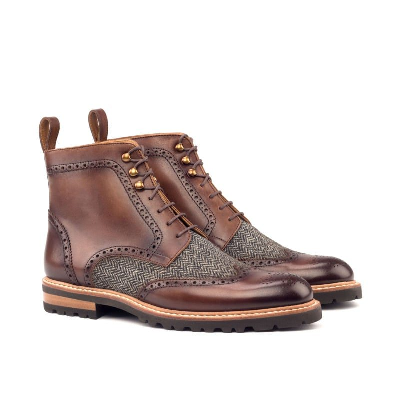 Custom Made Women's Military Brogue Boot in Medium Brown Painted Calf with Herringbone