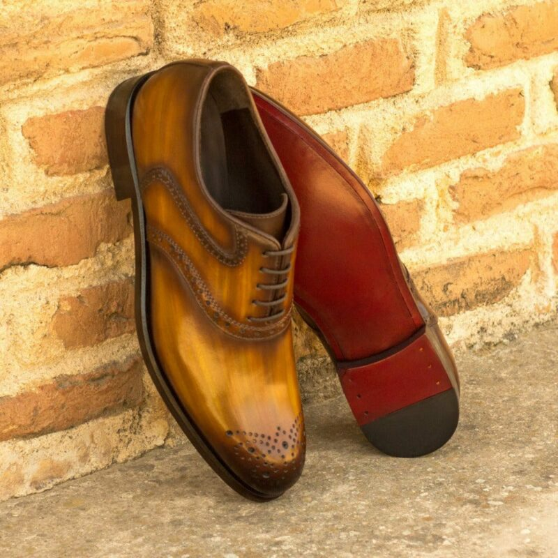 Custom Made Women's Saddle Shoes in Italian Calf Leather with a Cognac Hand Patina