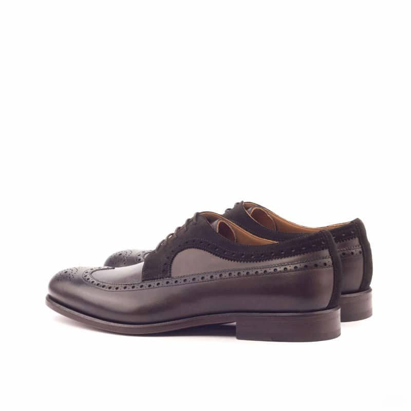 Custom Made Long Wingtip Blucher in Dark Brown Painted Calf and Luxe Suede