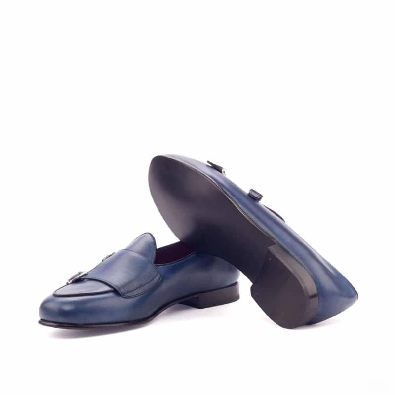 Custom Made Monk Slippers in Navy Blue and Black Painted Calf Leather