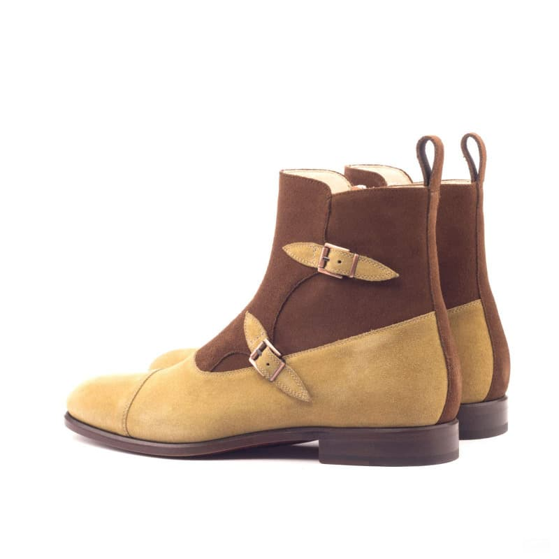 Custom Made Octavian Boot in Camel and Medium Brown Luxe Suede