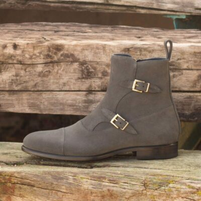 Custom Made Octavian Boot in Grey Luxe Suede