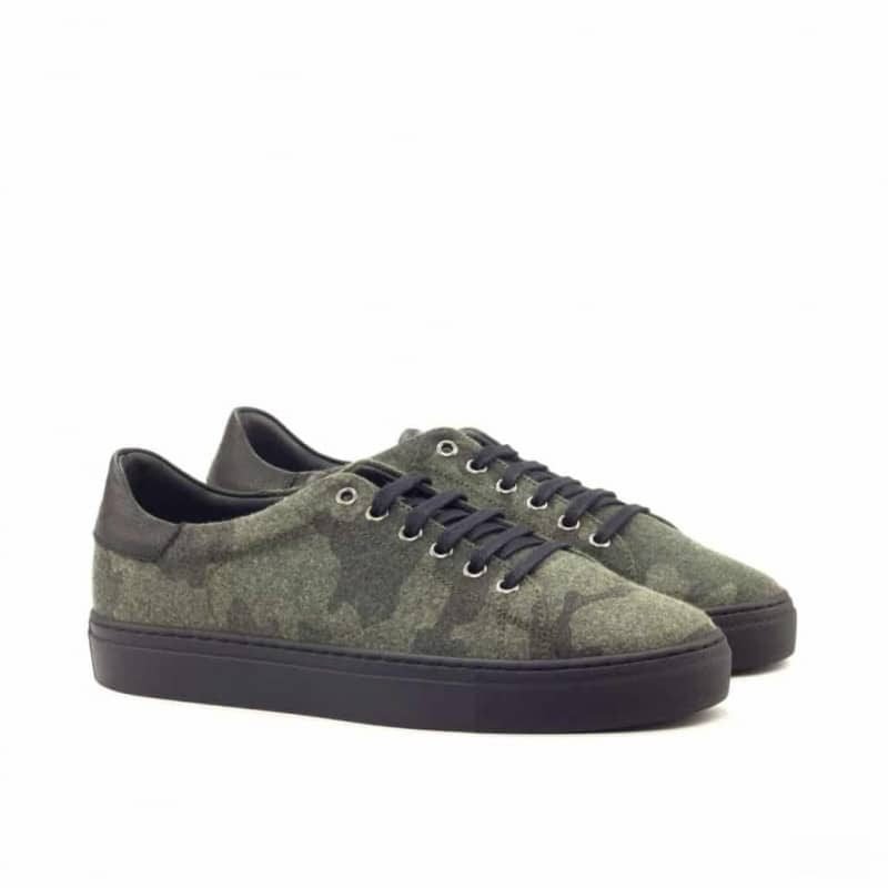 Custom Made Trainers in Camo Flannel and Black Full Grain Leather