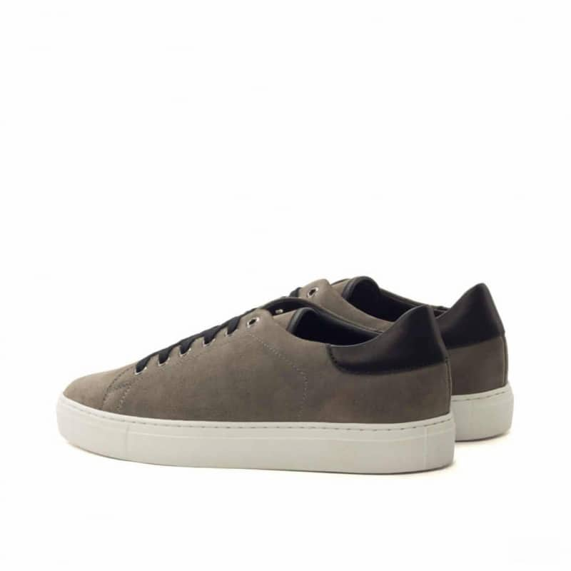 Custom Made Trainers in Grey Luxe Suede and Black Painted Calf