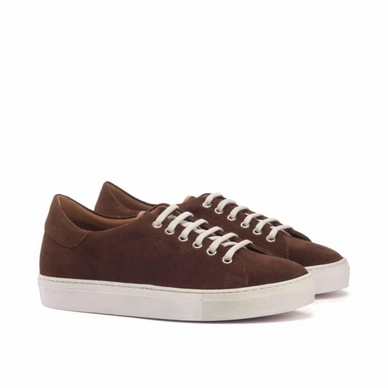Custom Made Trainers in Luxe Suede and Medium Brown Painted Calf Leather