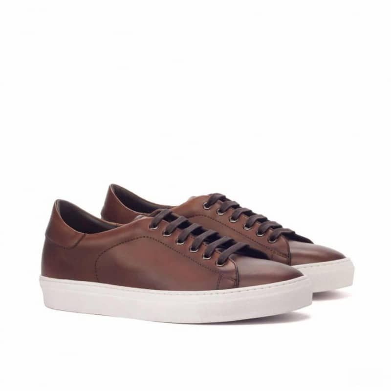 Custom Made Trainers in Medium Brown Painted Calf Leather