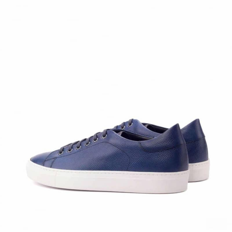Custom Made Trainers in Navy Blue Pebble Grain and Black Painted Calf Leather