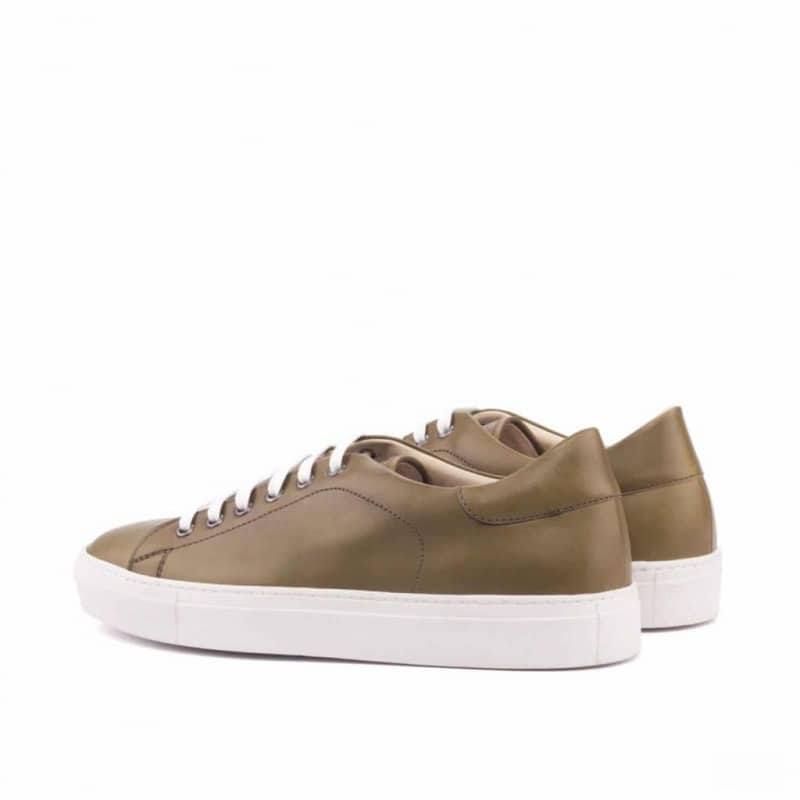 Custom Made Trainers in Olive Painted Calf Leather