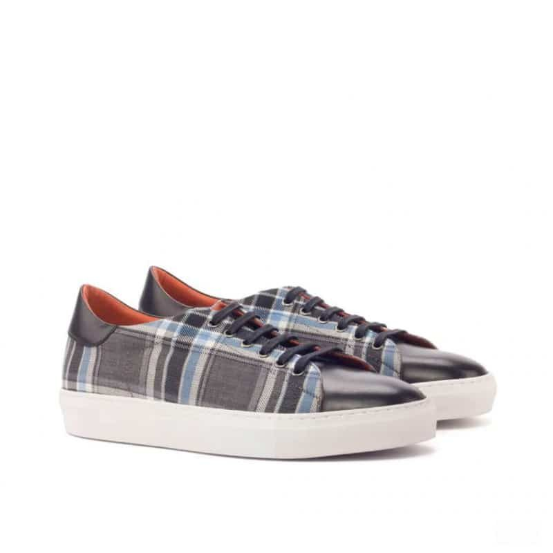 Custom Made Trainers in Plaid and Black Painted Calf Leather