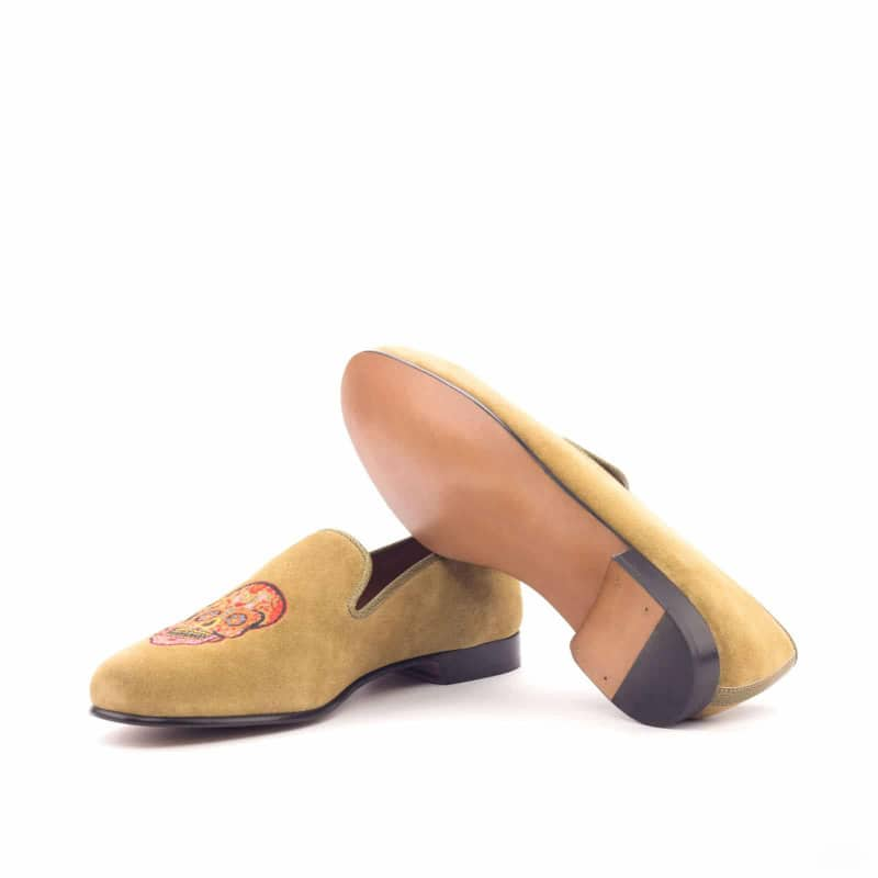 Custom Made Wellington Slippers in Camel Suede and Olive Painted Full Grain Leather