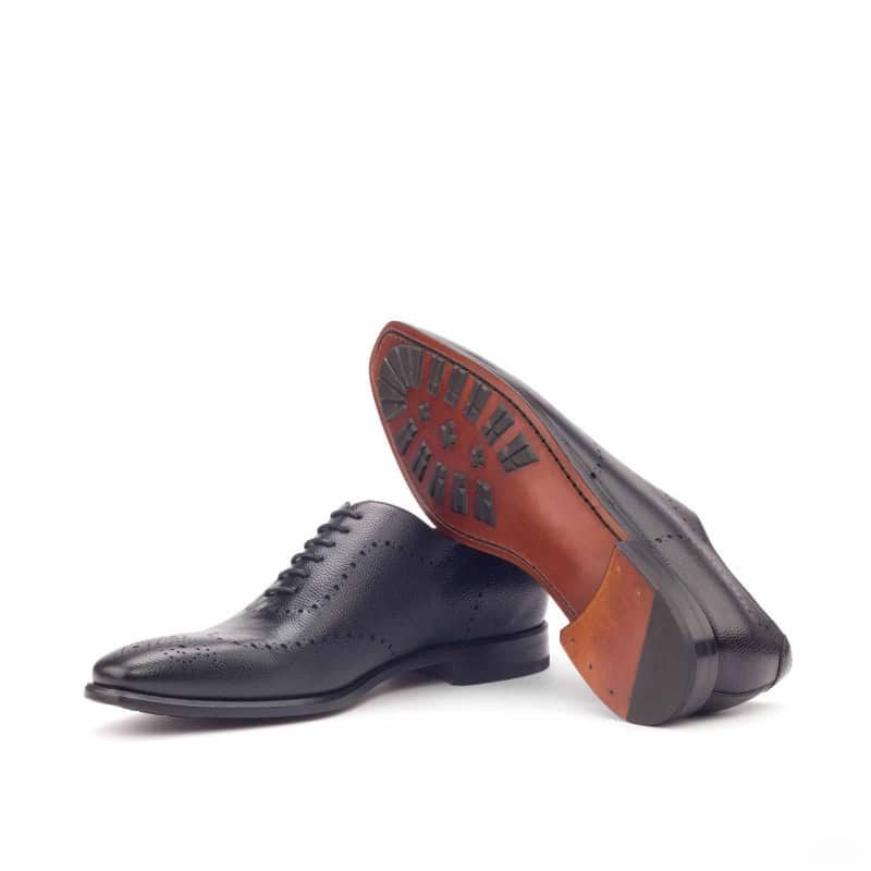 Custom Made Whole Cut Dress Shoes in Black Pebble Grain Leather