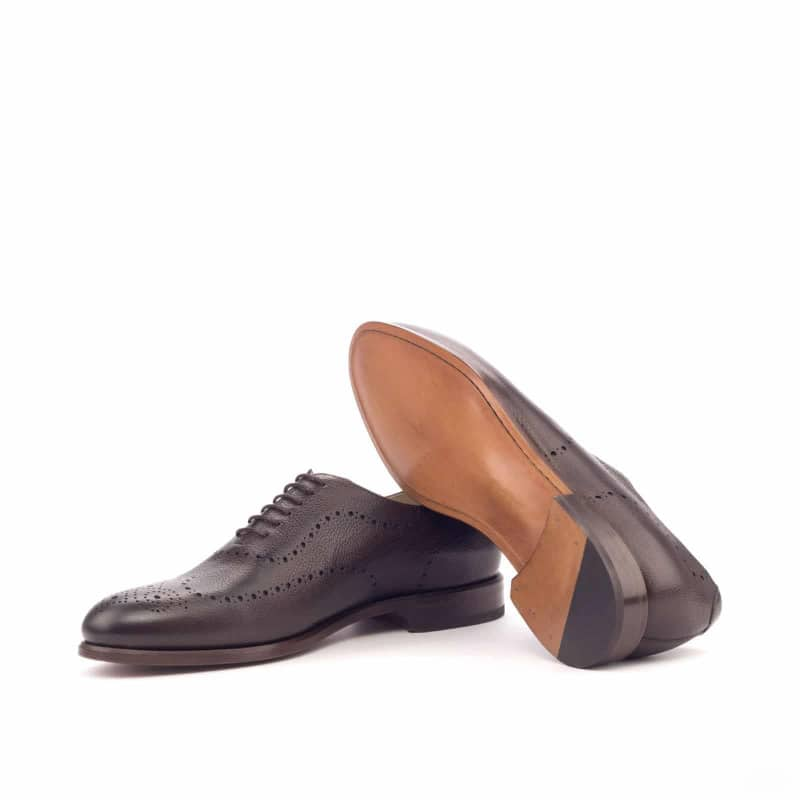 Custom Made Whole Cut Dress Shoes in Dark Brown Painted Full Grain Leather