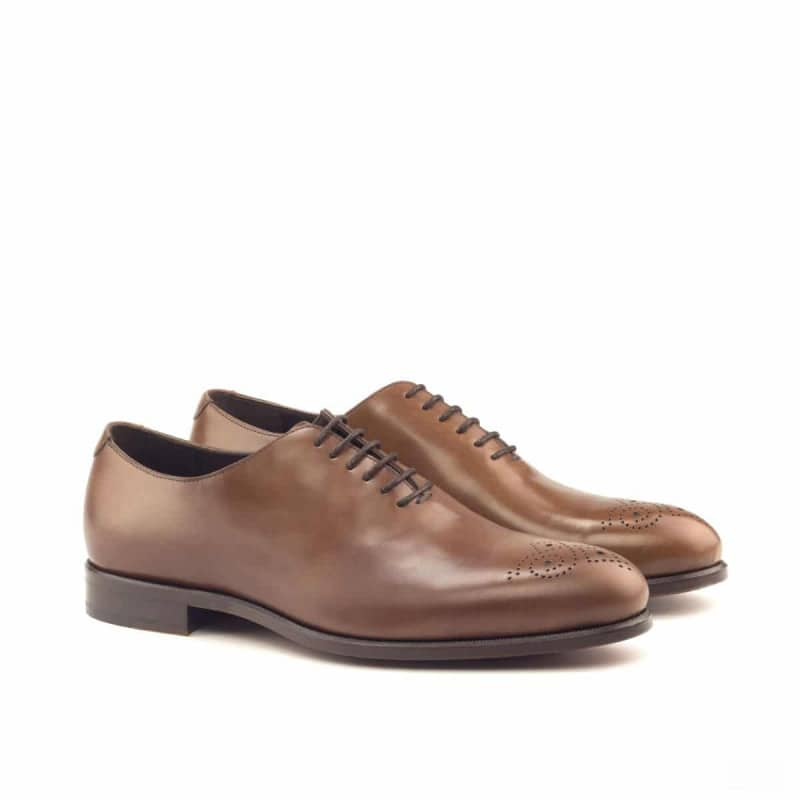 Custom Made Whole Cut Dress Shoes in Medium Brown Polished Calf Leather