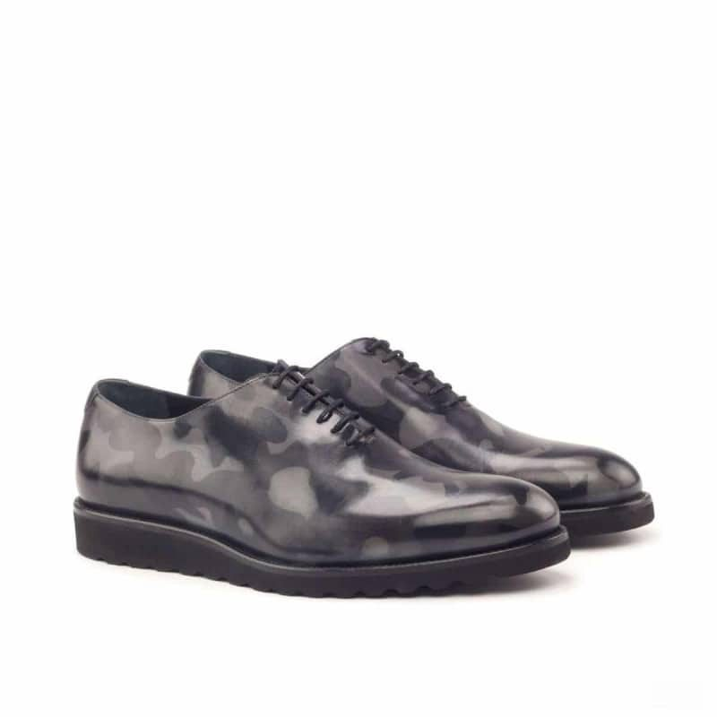 Custom Made Whole Cut Dress Shoes in Raw Crust Italian Leather with a Grey Camo Hand Patina