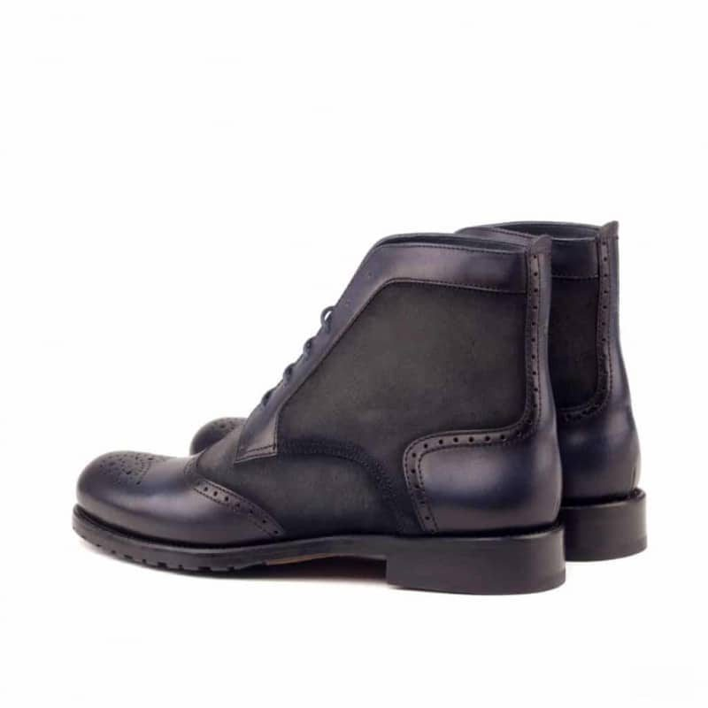 Custom Made Women's Lace Up Brogue Boots in Grey Painted Calf Leather and Luxe Suede