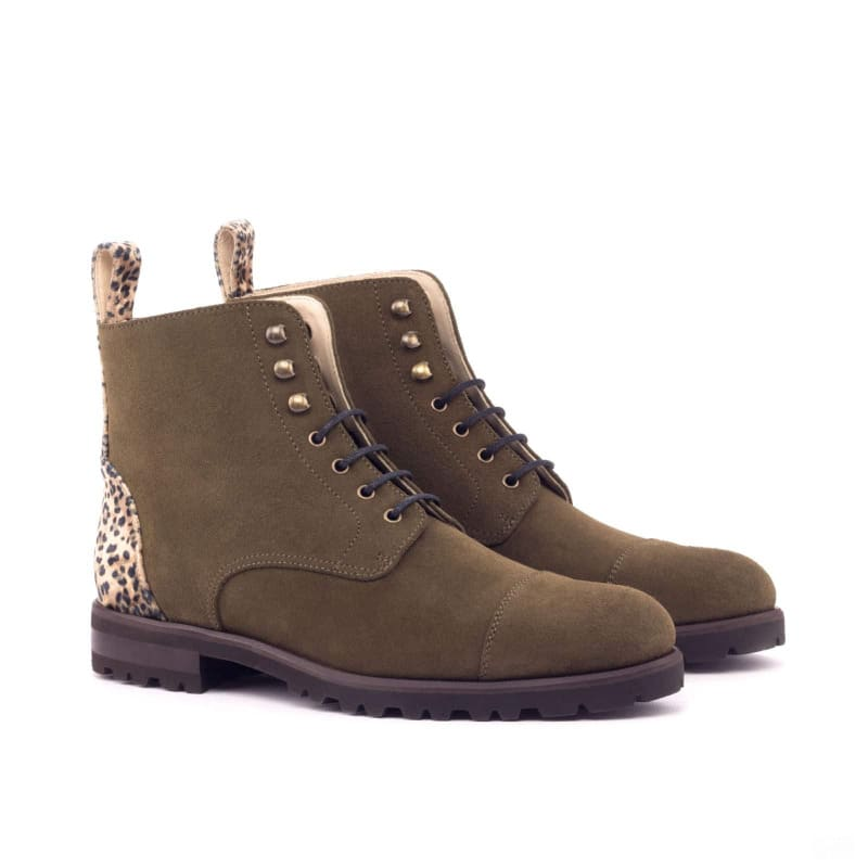 Custom Made Women's Lace Up Captoe Boot in Khaki Luxe Suede with Leopard Sartorial