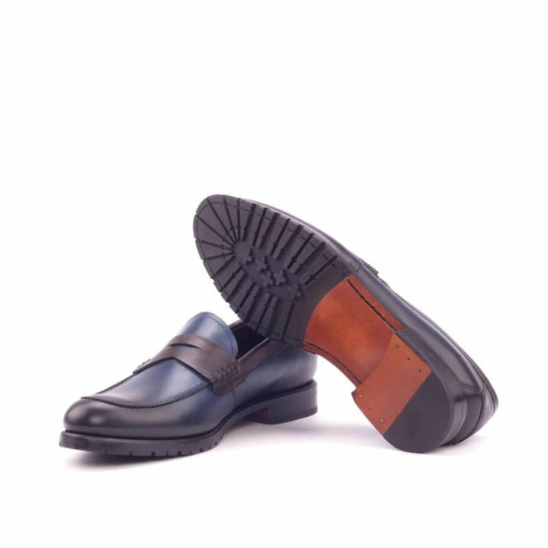Custom Made Women's Loafers in Navy Blue and Dark Brown Painted Calf Leather