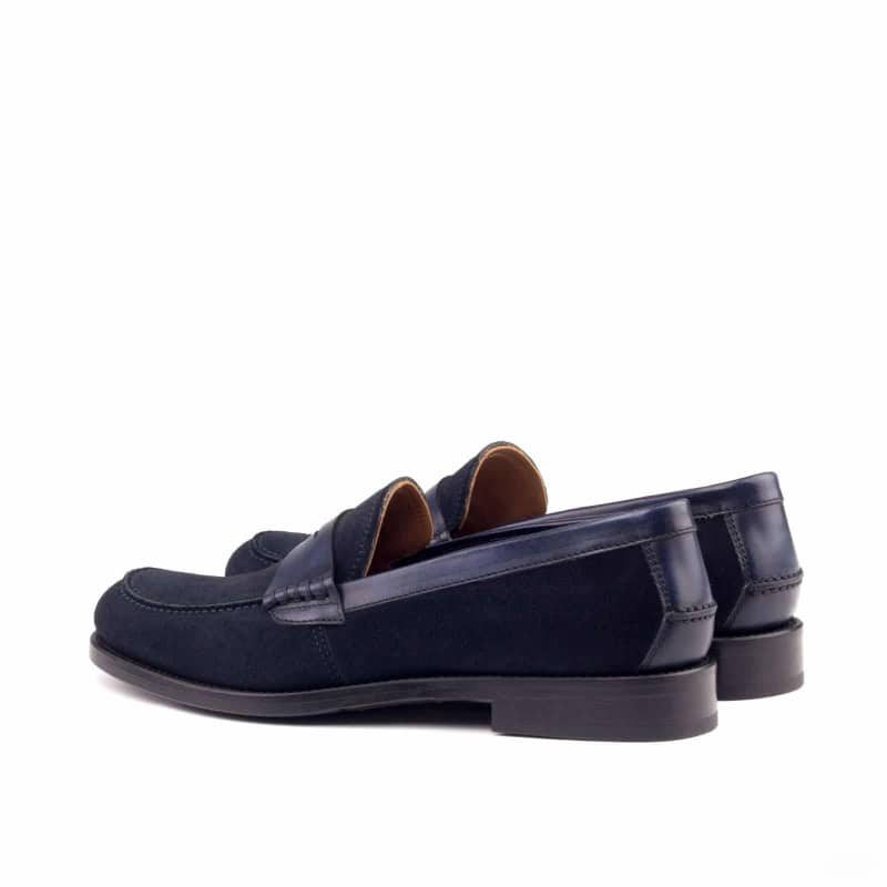 Custom Made Women's Loafers in Navy Blue Luxe Suede and Painted Calf Leather