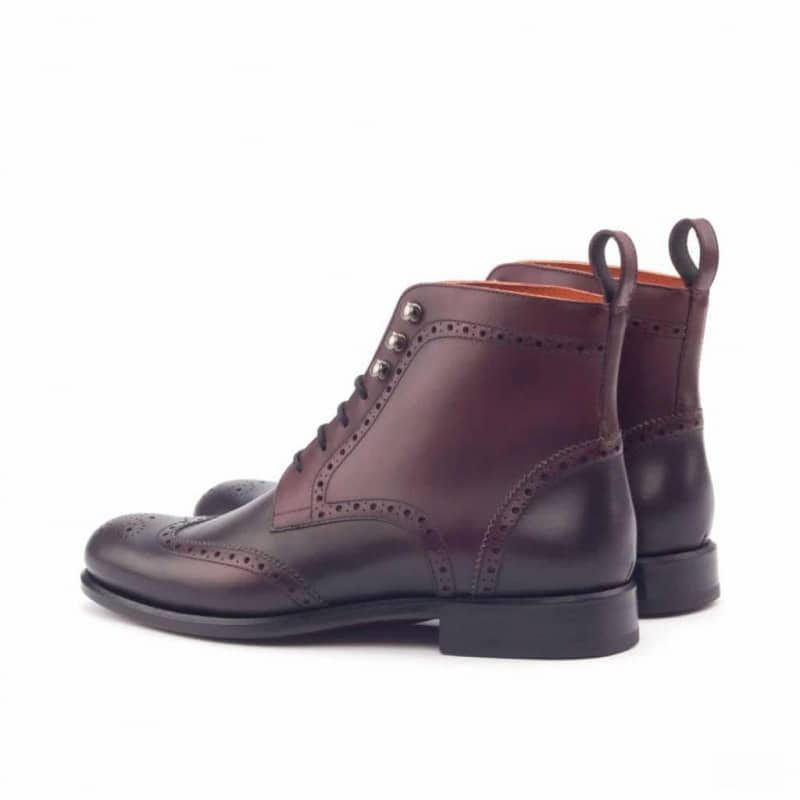 Custom Made Women's Military Brogue Boot in Burgundy and Dark Brown Painted Calf Leather