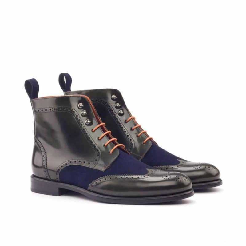 Custom Made Women's Military Brogue Boot in Green Polished Calf Leather with Navy Blue Kid Suede
