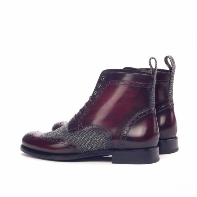 Custom Made Women's Military Brogue Boot in Italian Raw Crust Leather with a Burgundy Hand Patina and Herringbone
