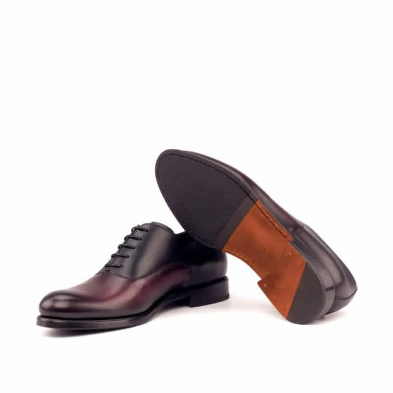 Custom Made Women's Oxford in Black and Burgundy Painted Calf Leather