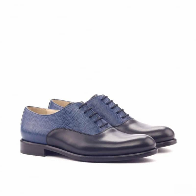Custom Made Women's Oxford in Black Box Calf and Navy Blue Pebble Grain Leather