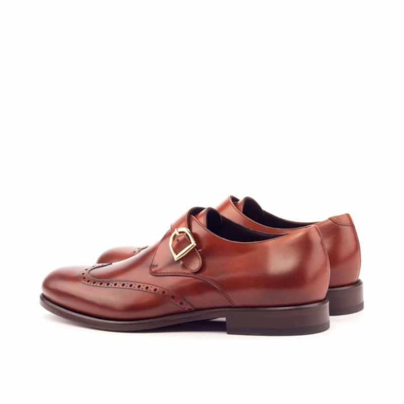 Custom Made Single Monks in Cognac Polished Calf Leather