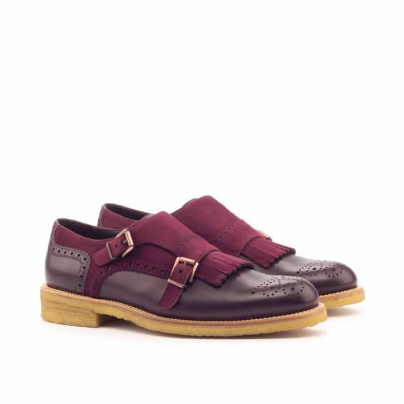 Custom Made Women's Kiltie Monkstrap in Burgundy Box Calf and Wine Kid Suede