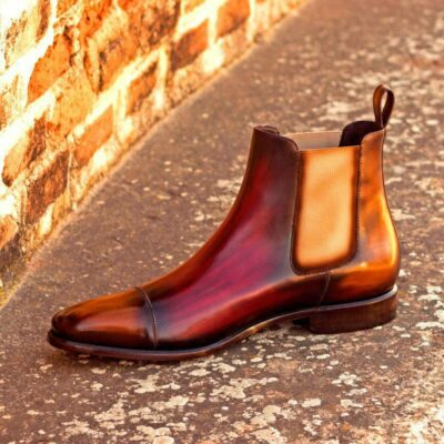 Custom Made Chelsea Boot Classic in Italian Raw Crust Leather with a Burgundy and Cognac Crust Patina