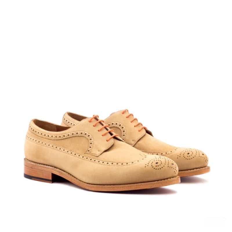 Custom Made Goodyear Welted Long Wingtip Blucher in Camel Kid Suede