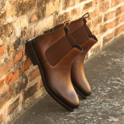Custom Made Goodyear Welted Men's Chelsea Boot Classic in Medium Brown Painted Calf Leather