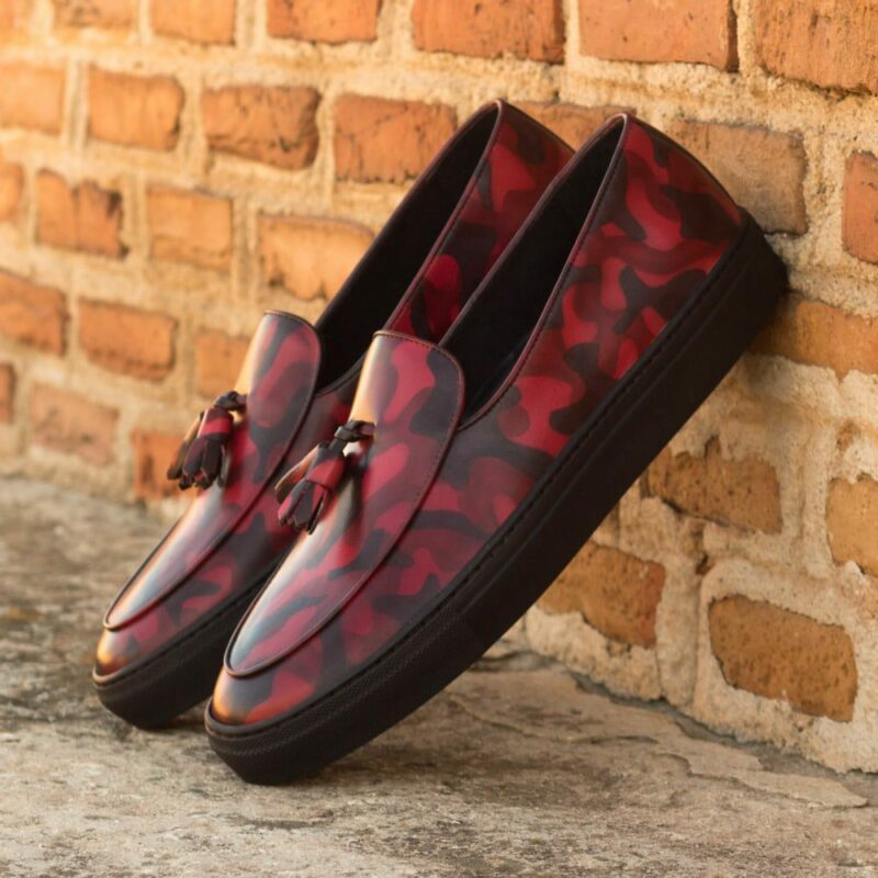 Custom Made Men's Belgian Sneakers in Italian Calf Leather with a Burgundy Camo Hand Patina