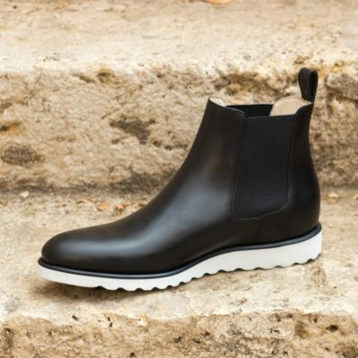 Custom Made Men's Chelsea Boot Classic in Black Painted Calf Leather