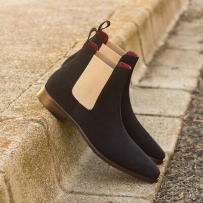 Custom Made Men's Chelsea Boot Classic in Navy Blue Luxe Suede