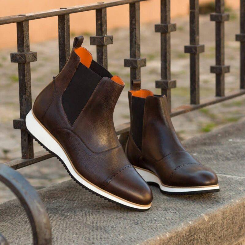 Custom Made Men's Chelsea Boot Multi in Dark Brown Painted Full Grain Leather