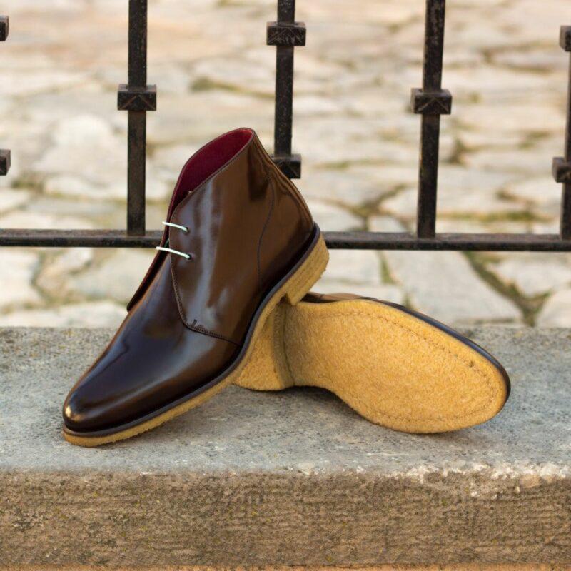 Custom Made Men's Chukka Boot in Dark Brown Polished Calf Leather
