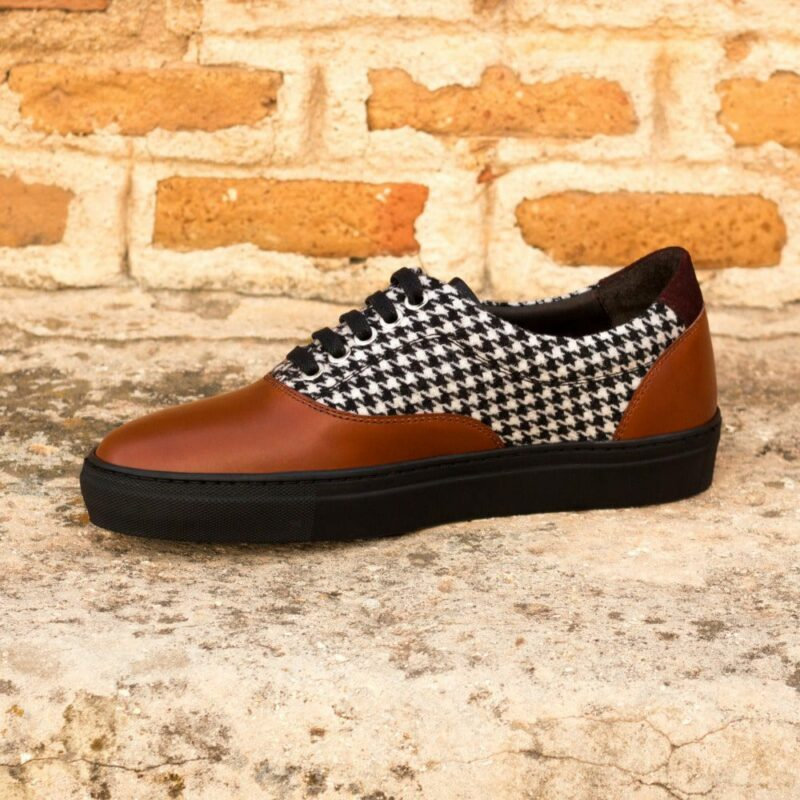 Custom Made Men's Cupsole Top-Sider in Cognac Box Calf and Houndstooth Wool with Burgundy Luxe Suede and Black Painted Calf