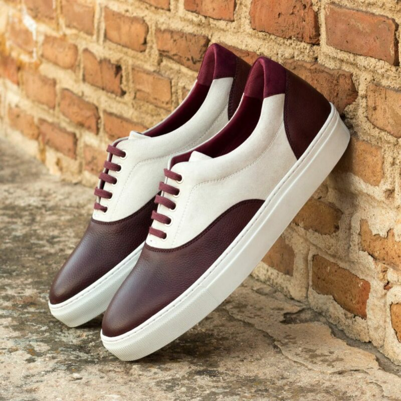 Custom Made Men's Cupsole Top Sider in White and Wine Kid Suede with Burgundy Painted Full Grain Leather