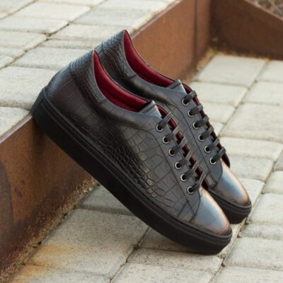Custom Made Men's Cupsole Trainers in Black Croco Embossed and Painted Calf Leather