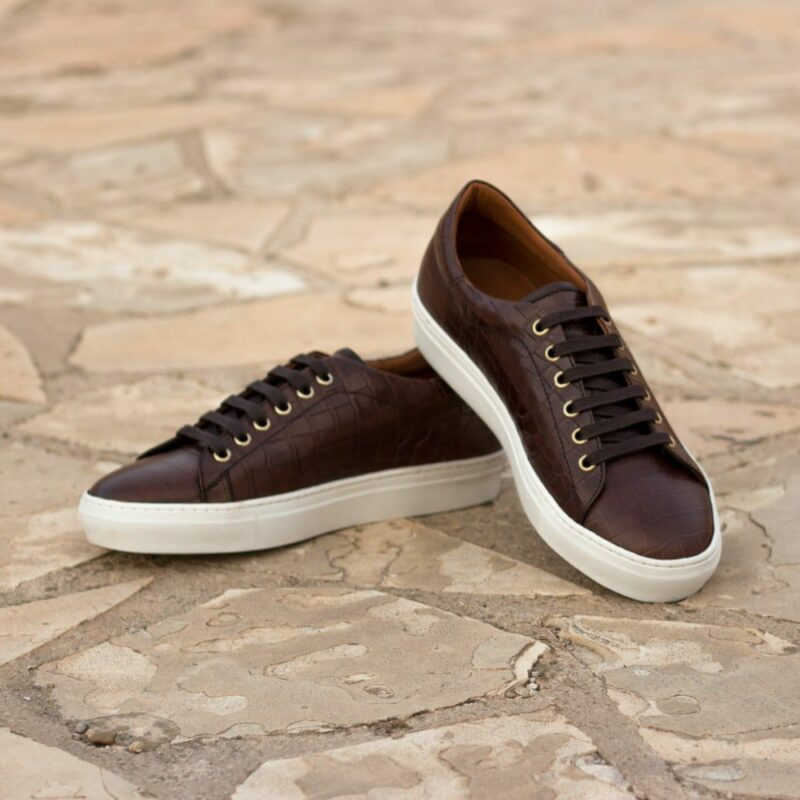 Custom Made Men's Cupsole Trainers in Brown Croco and Dark Brown Box Calf Leather