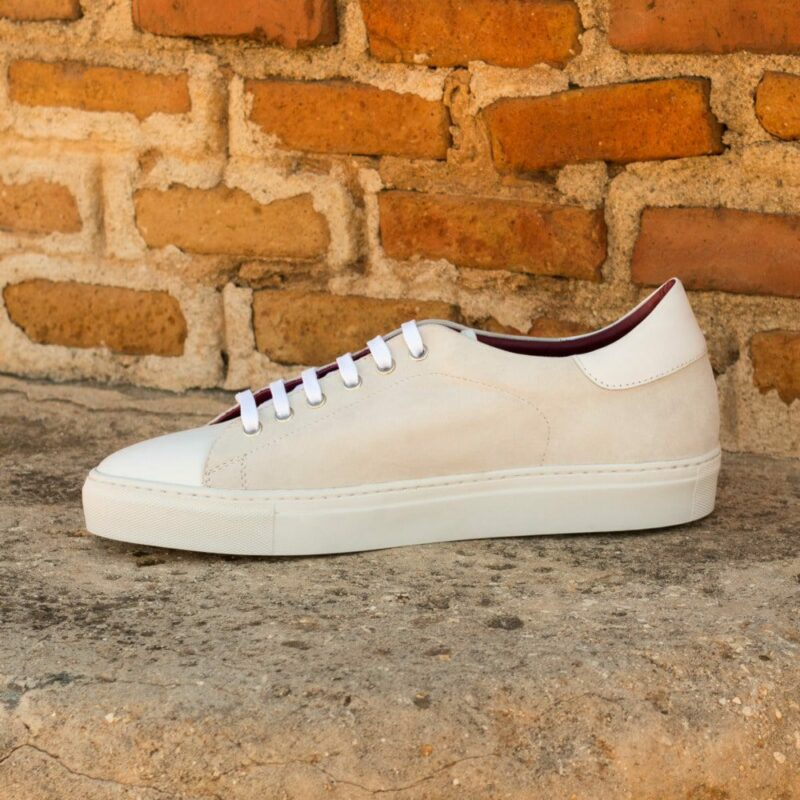 Custom Made Men's Cupsole Trainers in White Kid Suede and Box Calf Leather