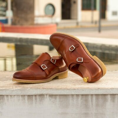 Custom Made Men's Double Monks in Cognac Polished Calf Leather